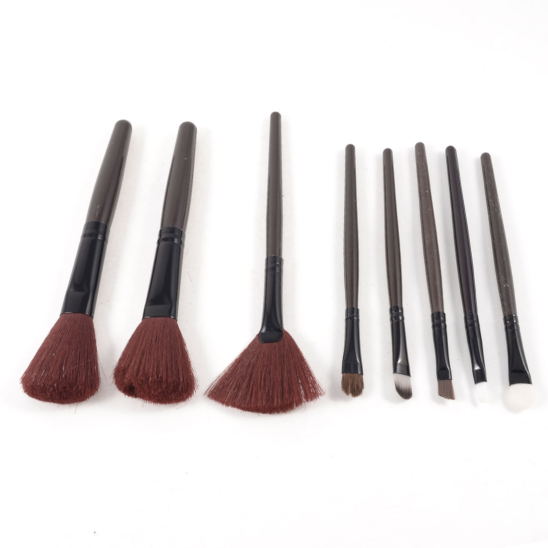 8 in 1 Powder Shadow Fan Eyeliner Eye Definer Brush Makeup Tools Set Tri Color