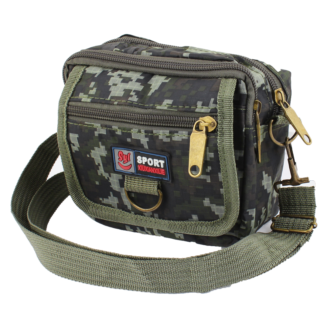 Travel Hook Loop Fastener Letter Print Polyester Waist Pack Dark Green for Men