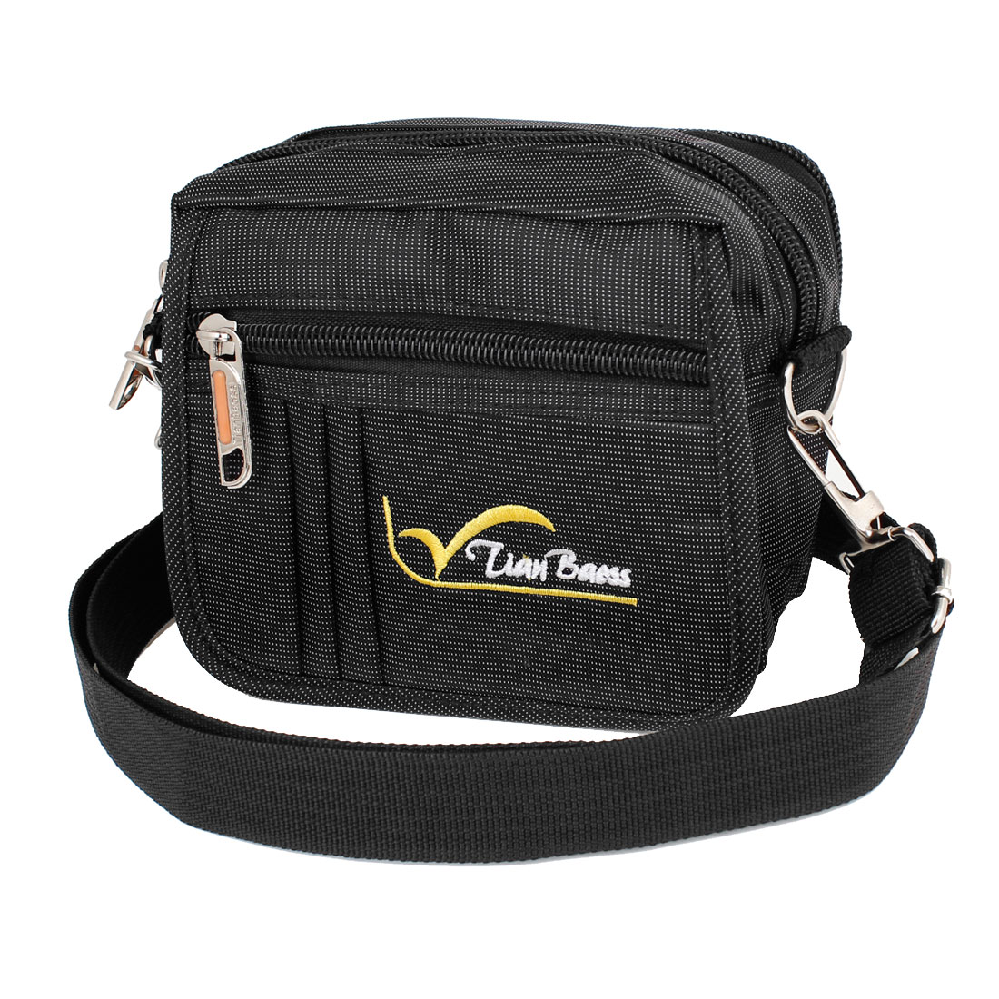 Men Black Belt Loop Design White Letter Print Waist Pack w Adjustable Strap