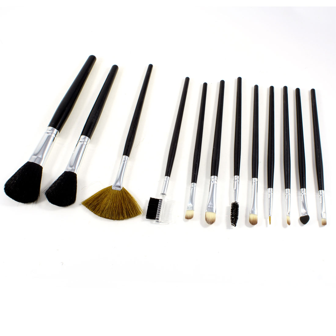 12 in 1 Powder Shadow Eye Definer Brush Cosmetic Tools Set Brown w Bag