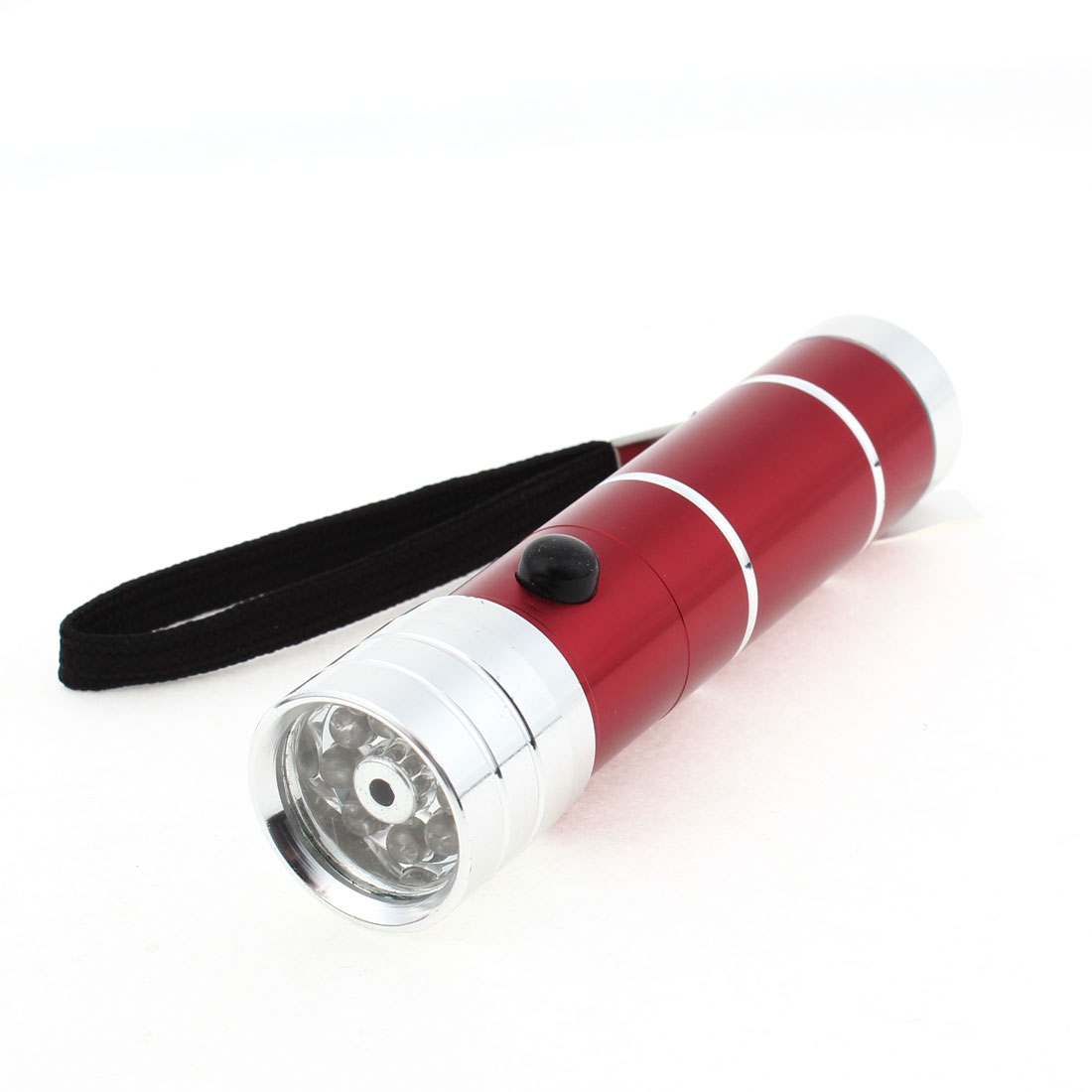 Camping Hiking Aluminum Shell White 8 LED Light Flashlight Red w Strap