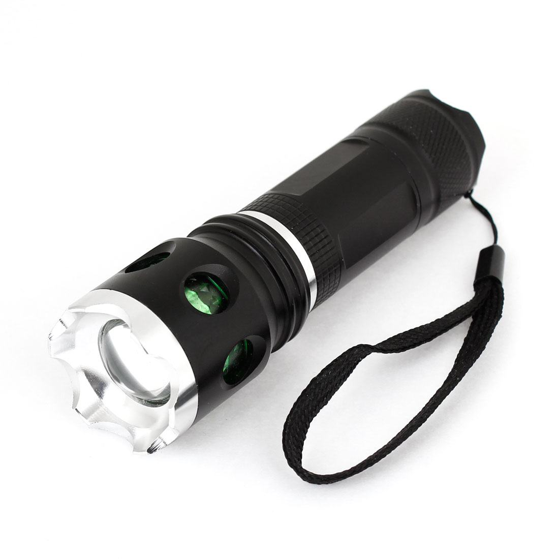 "Portable Black Green 4.7"" Long Shell White LED Light Hand Pressing Flashlight"
