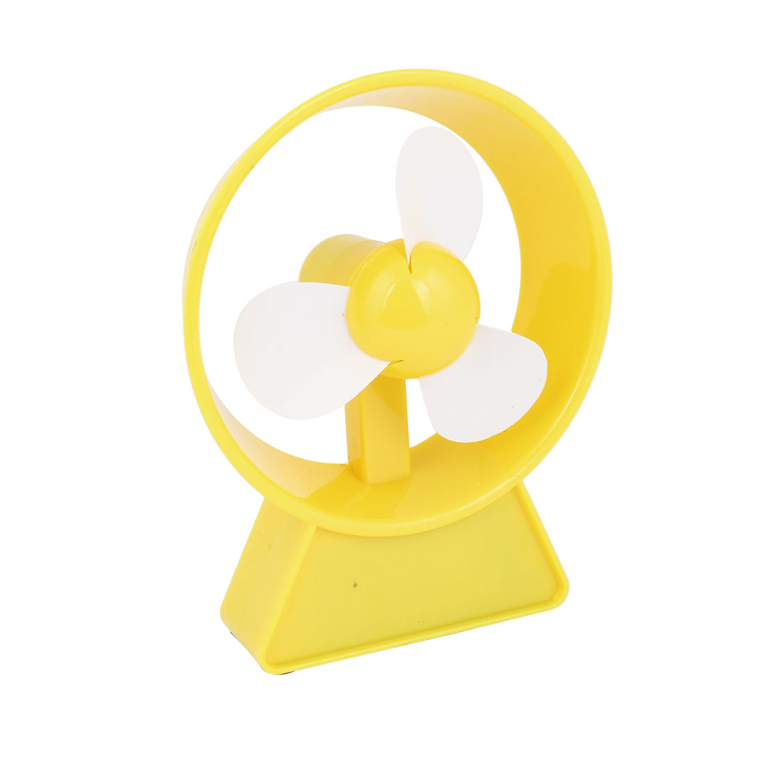Round Clock Style Battery USB Power PC Laptop Cooler Mini Fan Yellow White