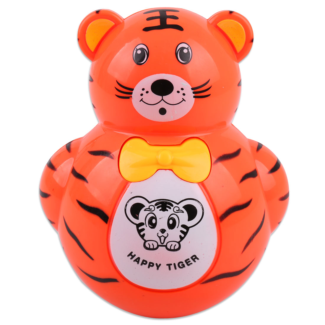 Children Orange Plastic Tiger Red Flashing Light Lamp Tumbler Roly Poly Toy Orange