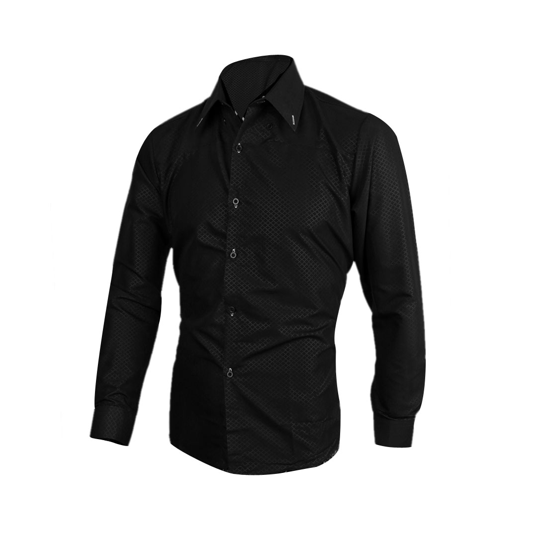 Men Buttoned Cuff Point Collar Plaids Long-sleeved Shirt Black M