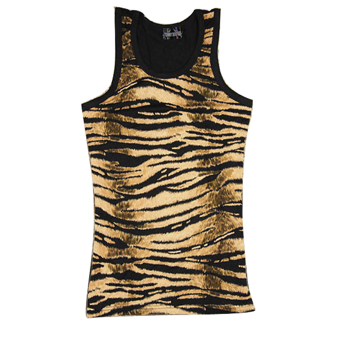 Men Tiger Prints Korean Style U Neck Leisure Tank Tops Black Brown M