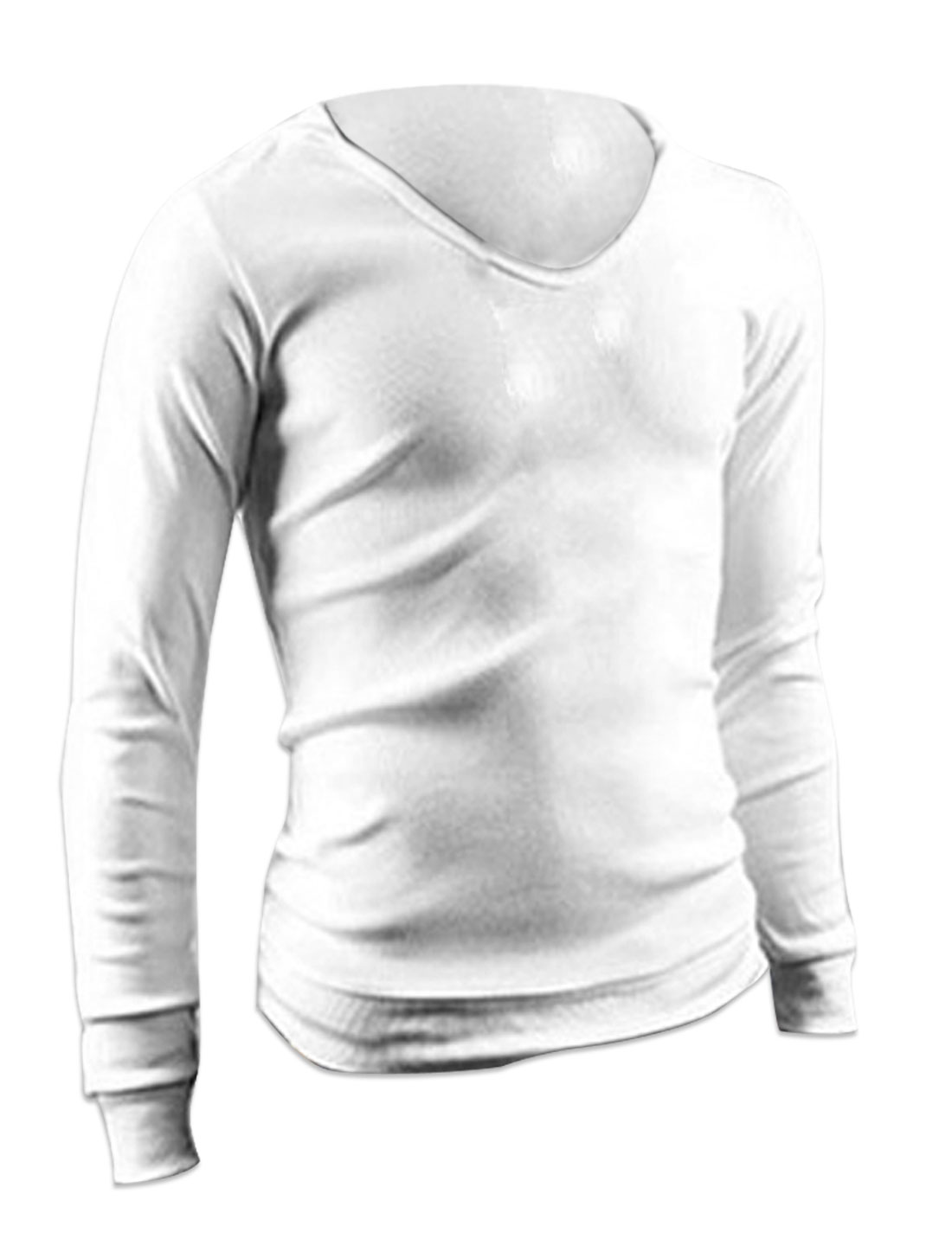 Men V Neck Pullover Long Sleeve Panel Cuffs Shirt White M