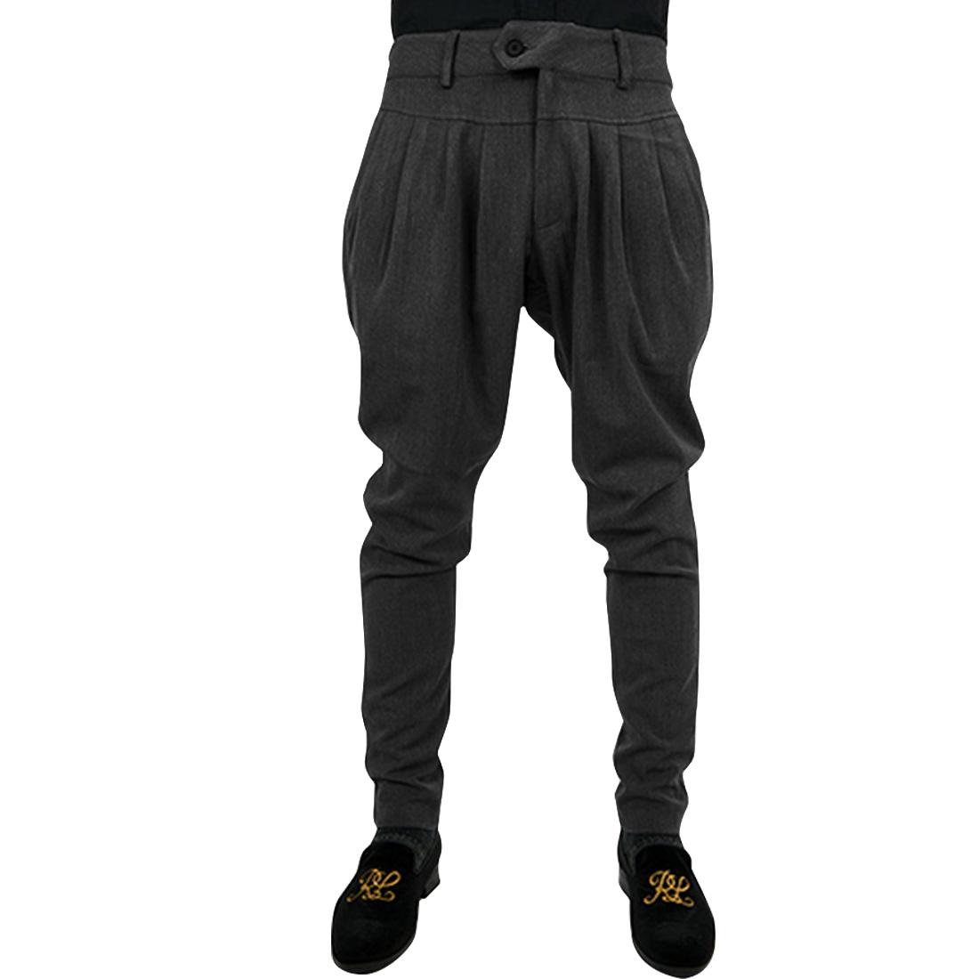 Mens Dark Gray With Pockets Stylish Mid Rise Harem Trouser W36