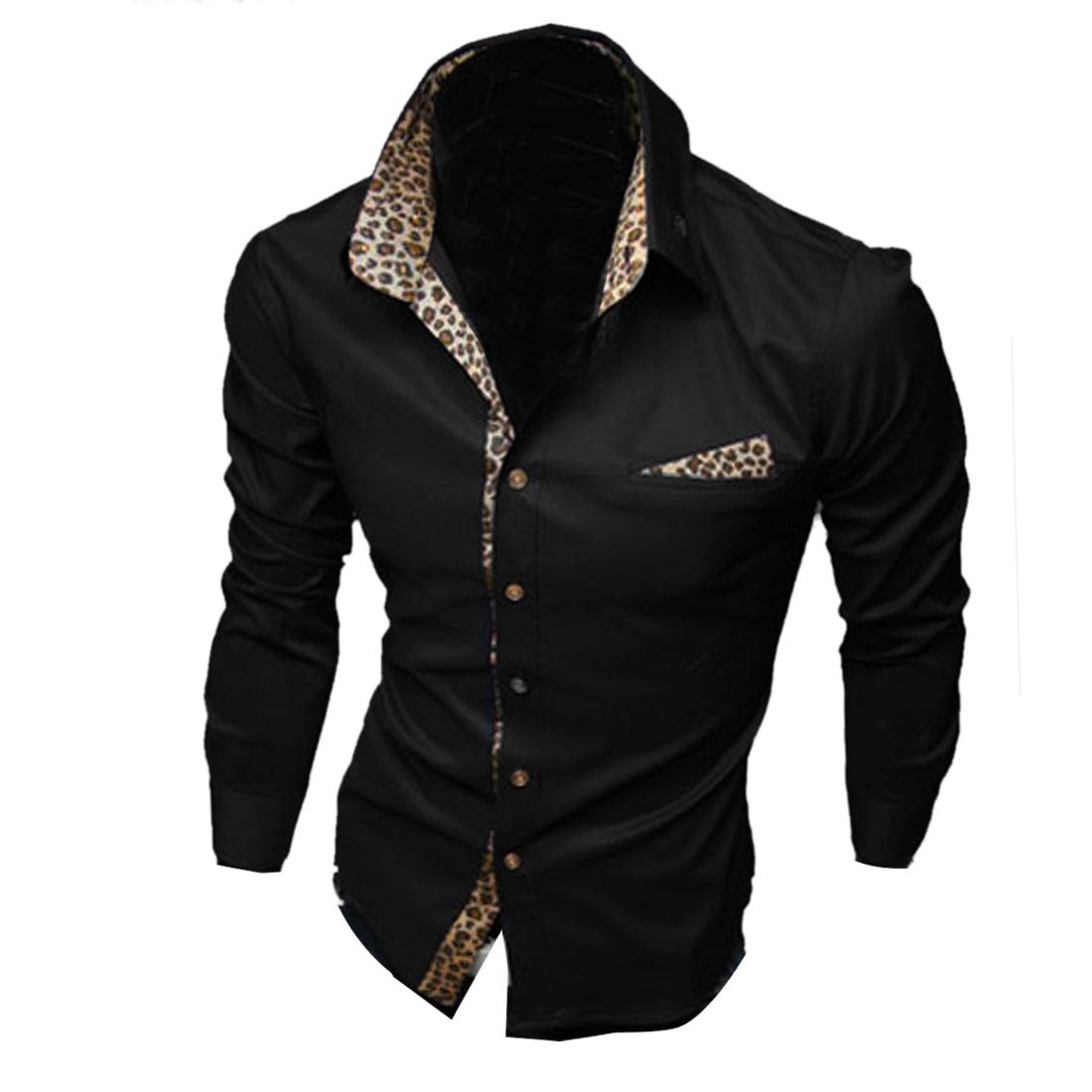 Men Buttoned Cuff Point Collar Long-sleeved Modern Shirt Black M