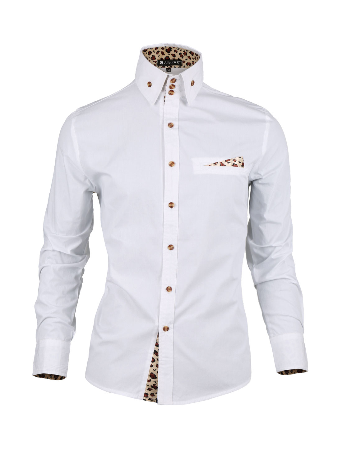 Men Single Breasted Leopard Lining Buttons Front Shirt White M