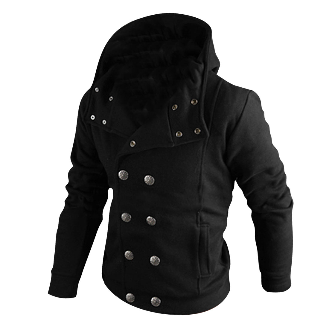Mens Black Convertible Collar Double Breasted Casual Hooded Coat M
