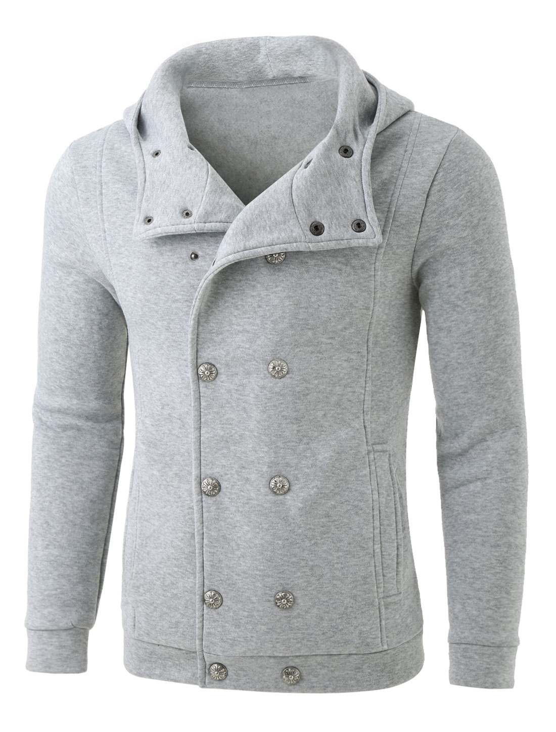 Men Casual Winter Autumn Button Up Solid Fleece Jacket Hoodie Light Gray M