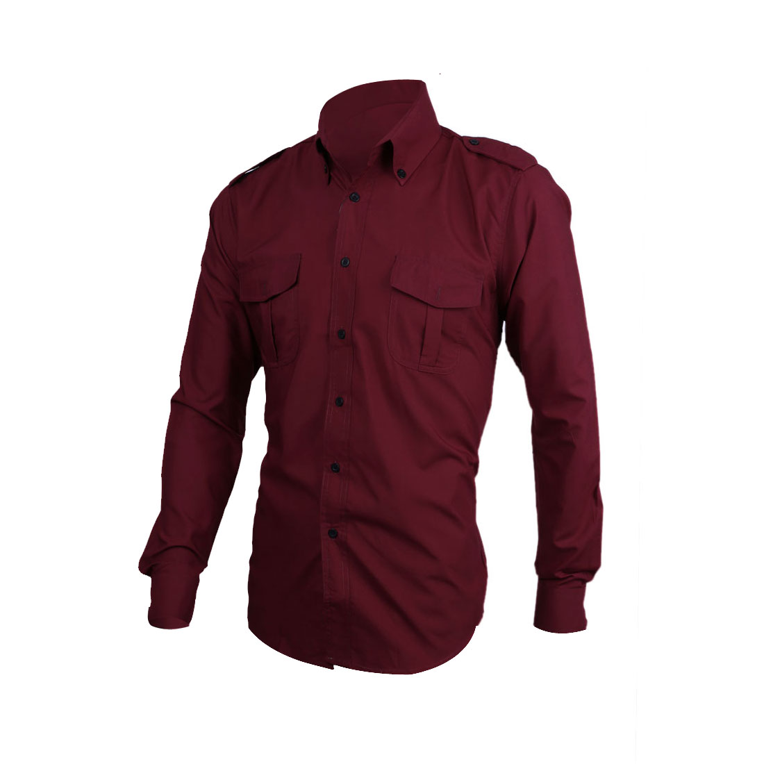 Men Single Breasted Buttoned Up Front Flap Pocket Shirt Burgundy M
