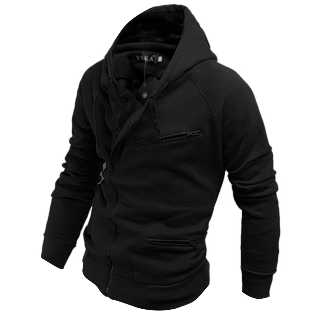 Mens Black Convertible Collar Drawstring Hood Casual Winter Coat M