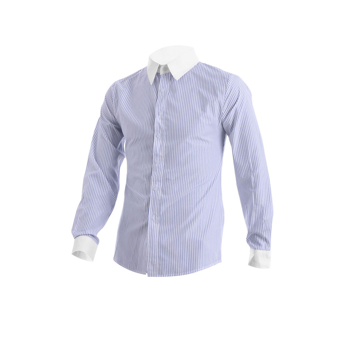 Mens Chic Point Collar Long Sleeve Stripes Pattern Blue White Shirt M