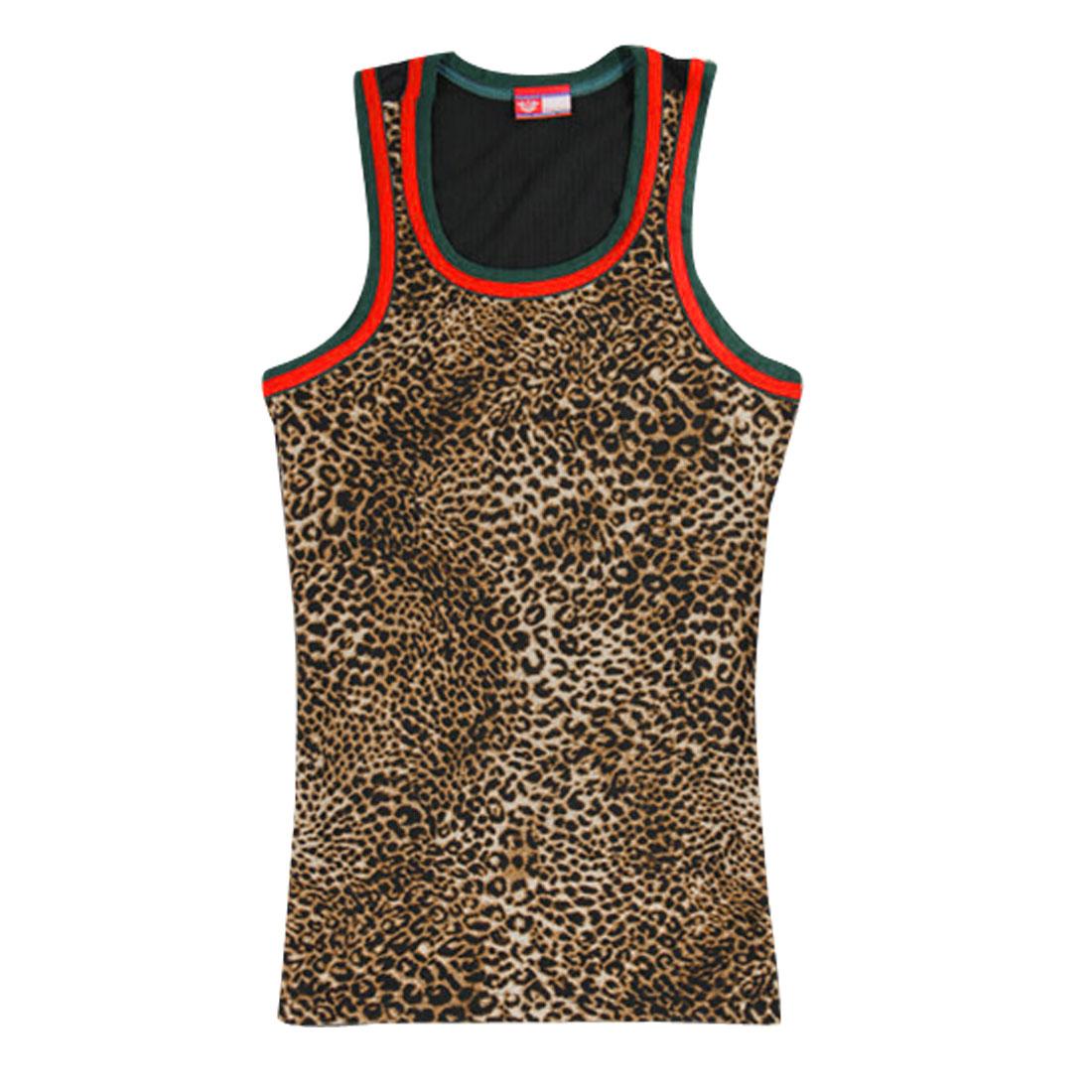 Men Leopard NEW Stylish U Neck Sleeveless Stretchy Tank Tops Black Brown M