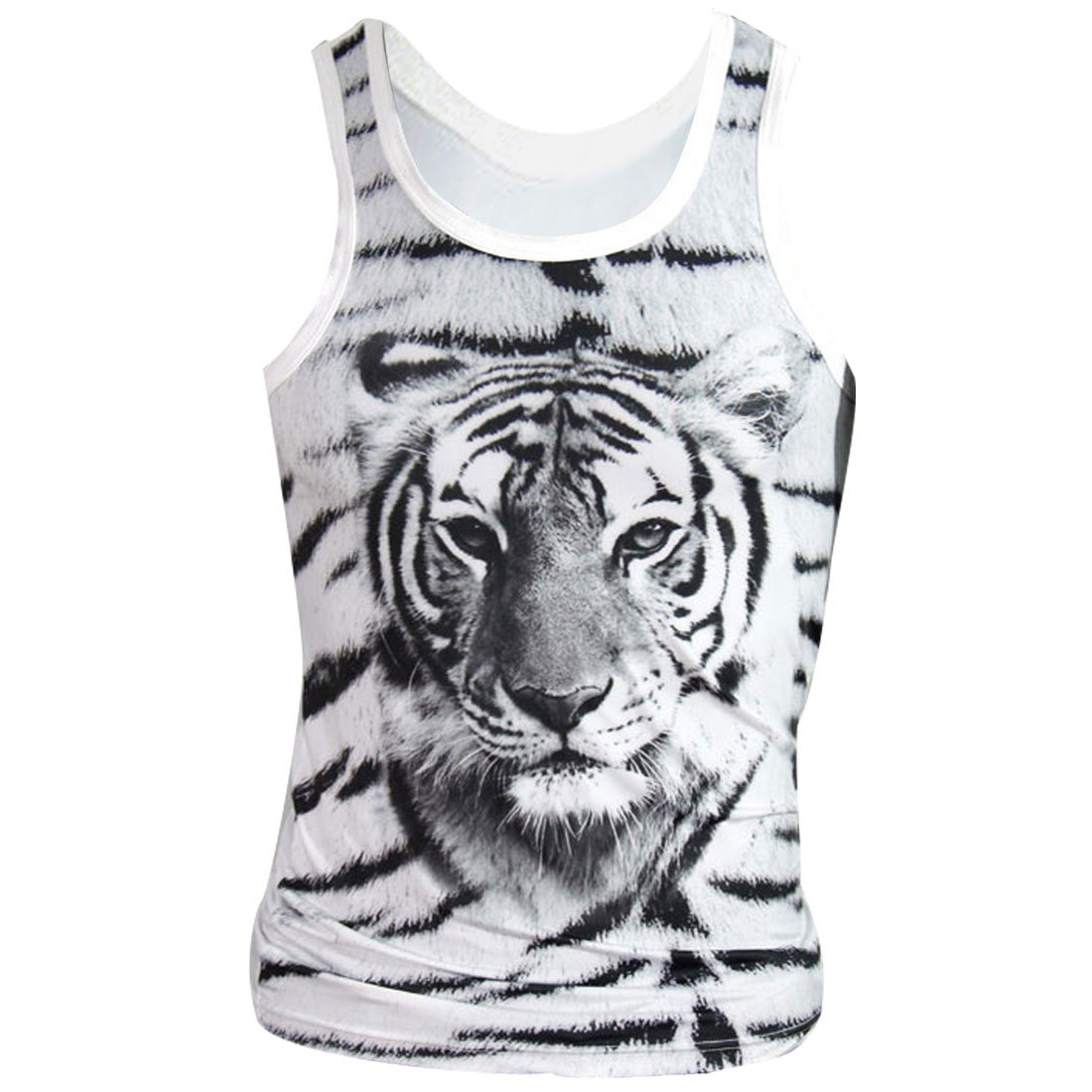 Men Adjustable Strap Tiger Pattern Front Spring Tank Tops Black White M
