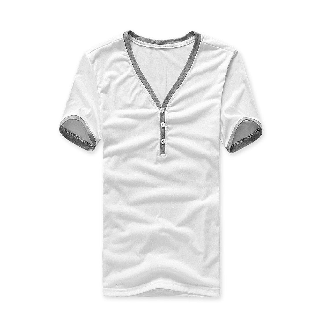 Men V Neck Button Front Up Short Sleeve Panel Neck T-shirt White M