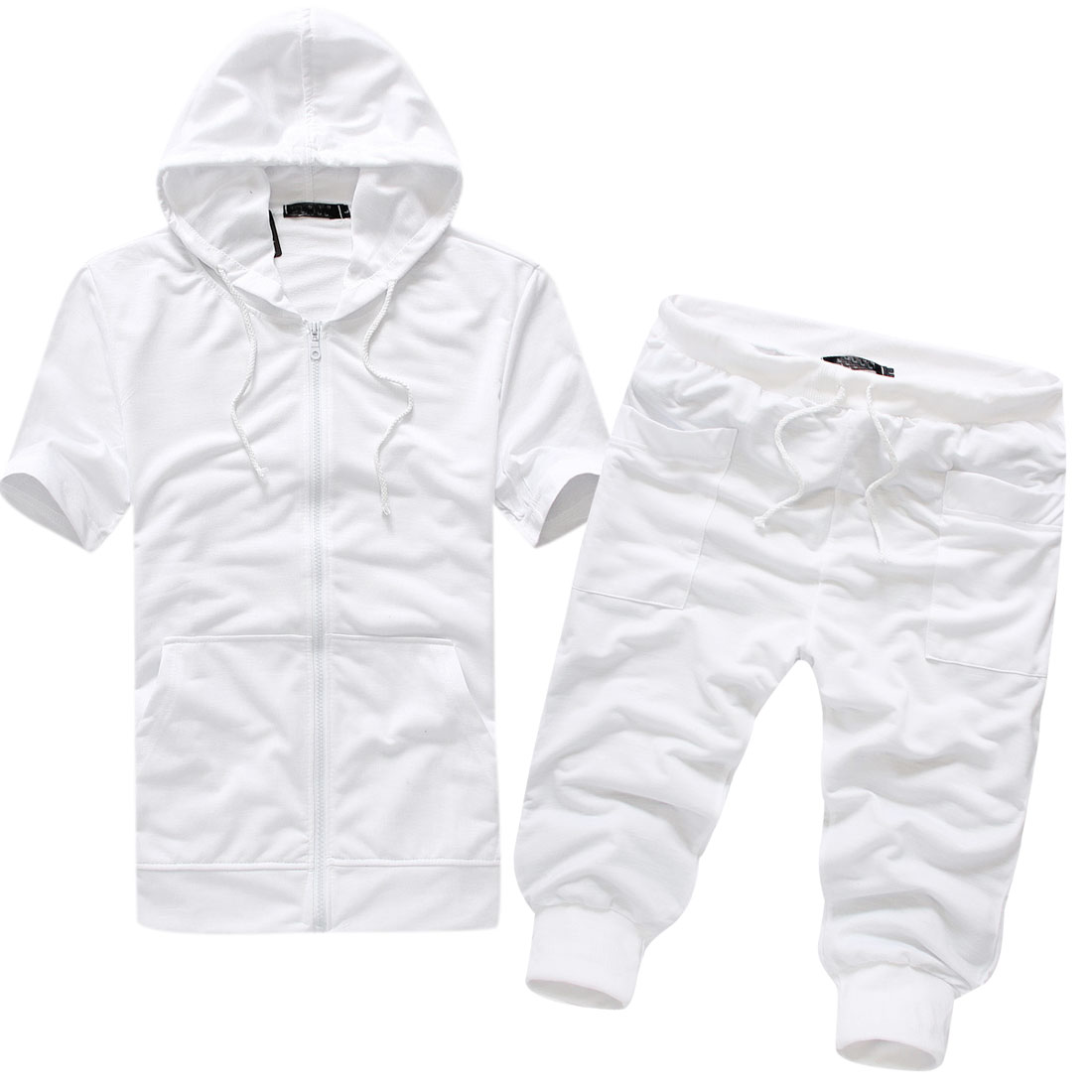 Men Short Sleeve Hoodie w Slant Pockets Thick Capris Shorts White M