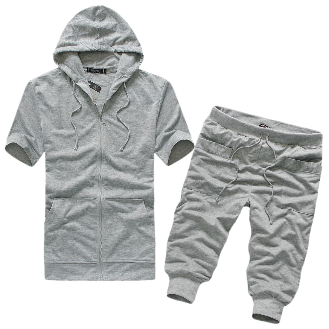 Man Short-sleeved Hooded Tops w Hip Pockets Pants Light Gray M