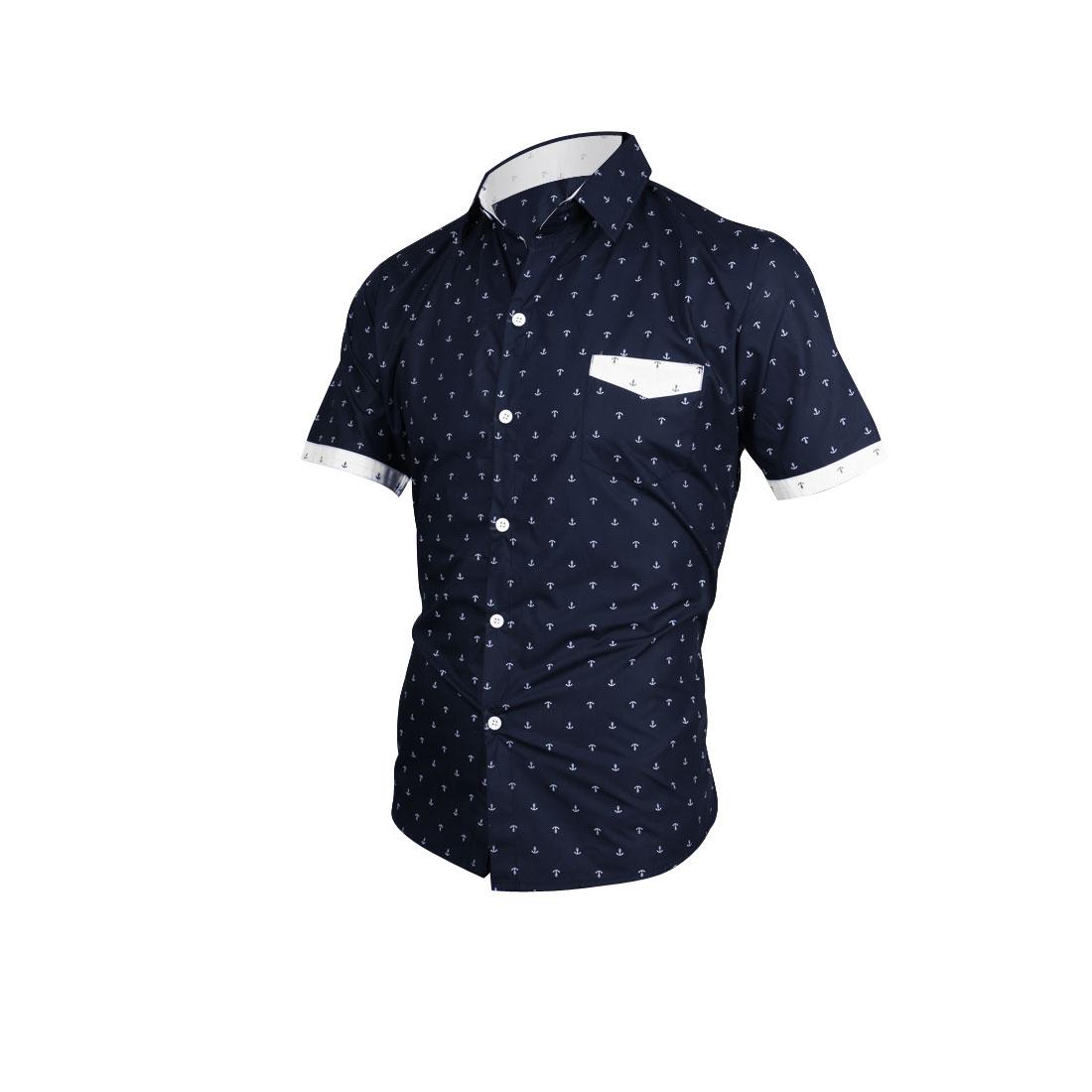 Men Short Sleeve Button Up Anchor Pattern Navy Blue Tee Shirt M