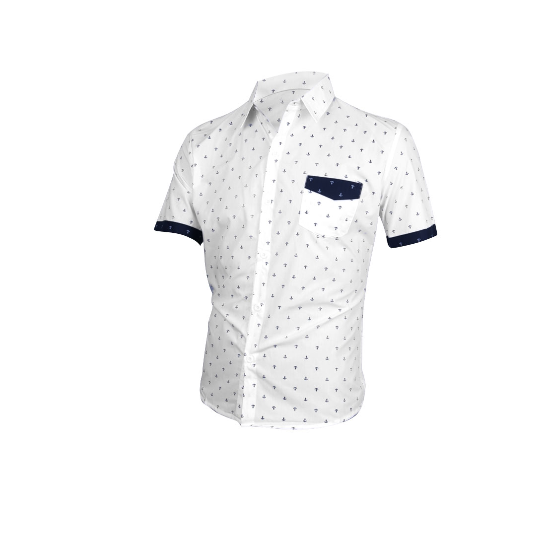 Men Turndown Collar Single Breasted Anchor Pattern T-Shirt White M