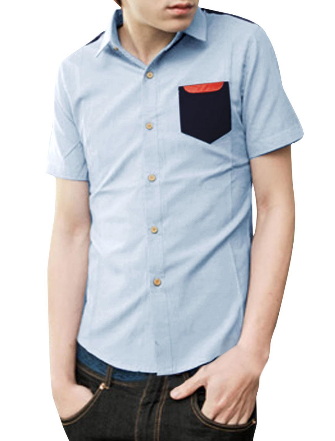 Mens Chic Point Collar Short Sleeve Splice Button Down Light Blue Shirt M