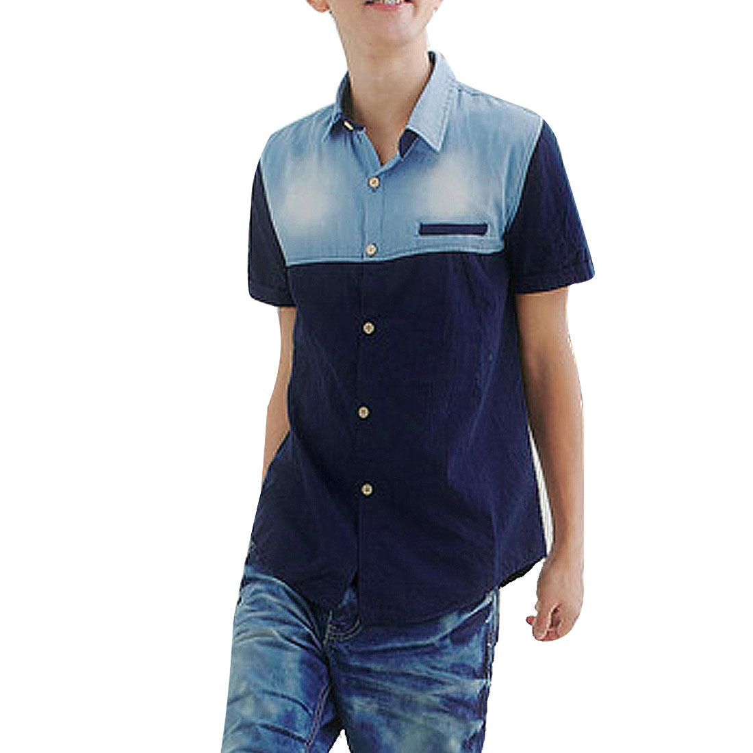 Man New Style Point Collar Short Sleeve Faded Denim Splice Dark Blue Shirt M