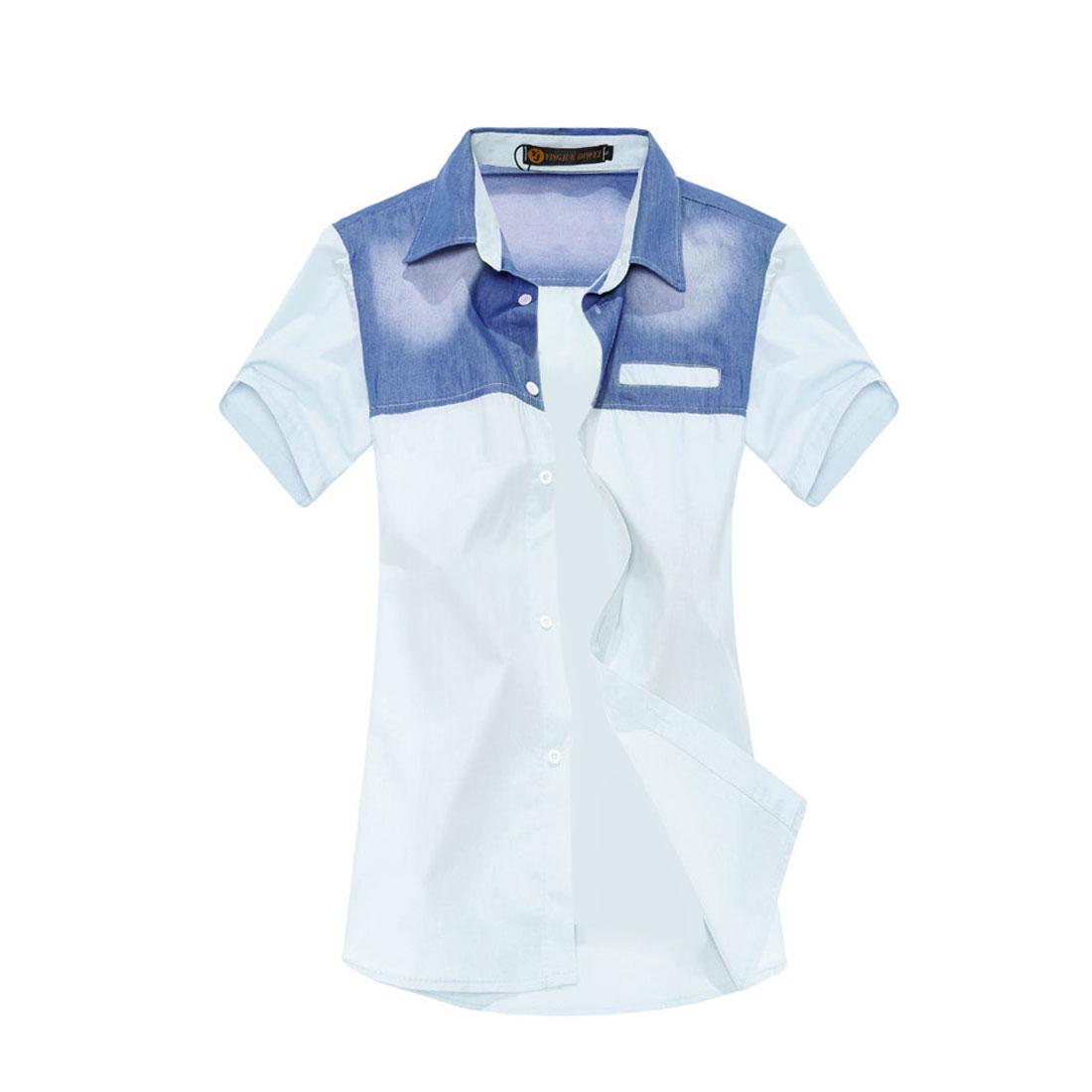 Mens Chic Point Collar Short Sleeve Denim Splice Light Blue Casual Shirt M