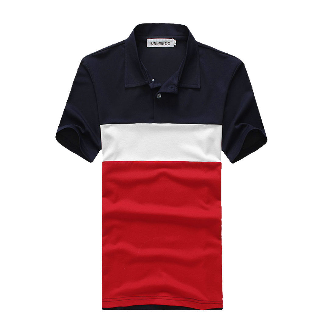 Mens Short Sleeve Button Up Front Contrast Color Dark Blue Red Polo Shirt S