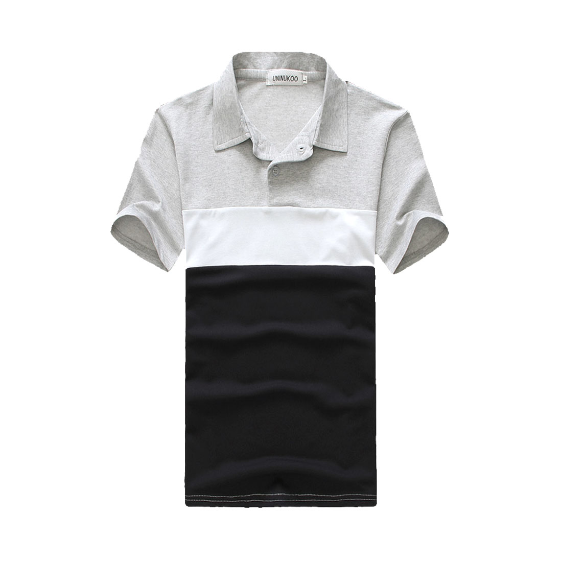 Man Short Sleeve Button Front Color Blocking Light Gray Drak Blue Polo Shirt S