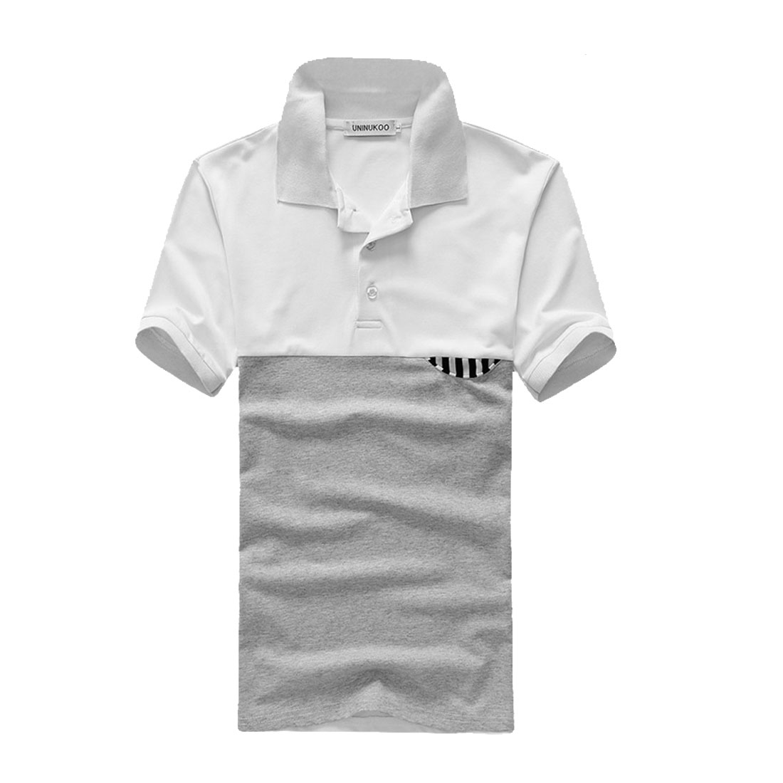 Mens Short Sleeve Contrast Color Splice Light Gray White Casual Polo Shirt M