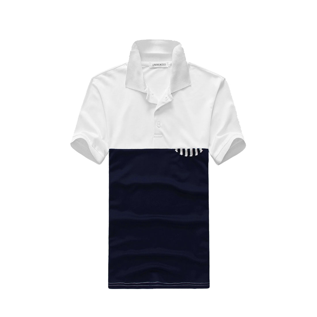 Man Chic Short Sleeve Contrast Color Splice Dark Blue White Polo Shirt M