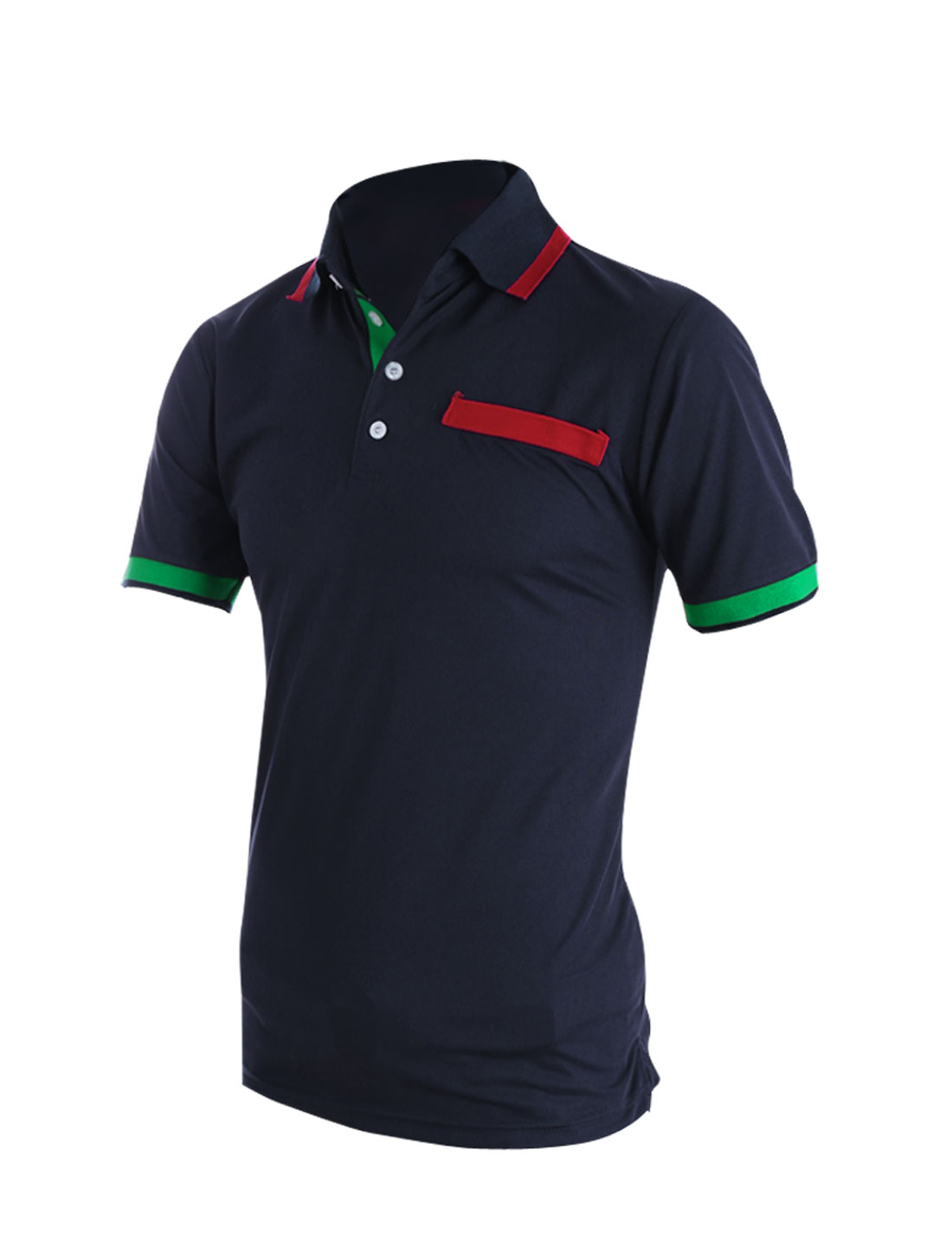 Men Convertible Collar Short Sleeve Casual Polo Shirt Navy Blue M