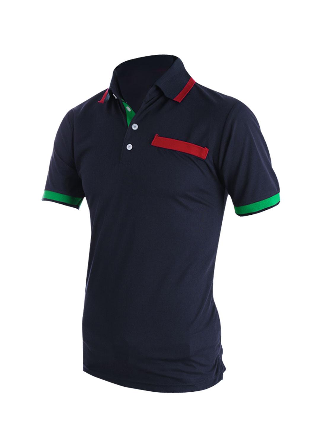 Men Convertible Collar Short Sleeve Casual Polo Shirt Navy Blue M