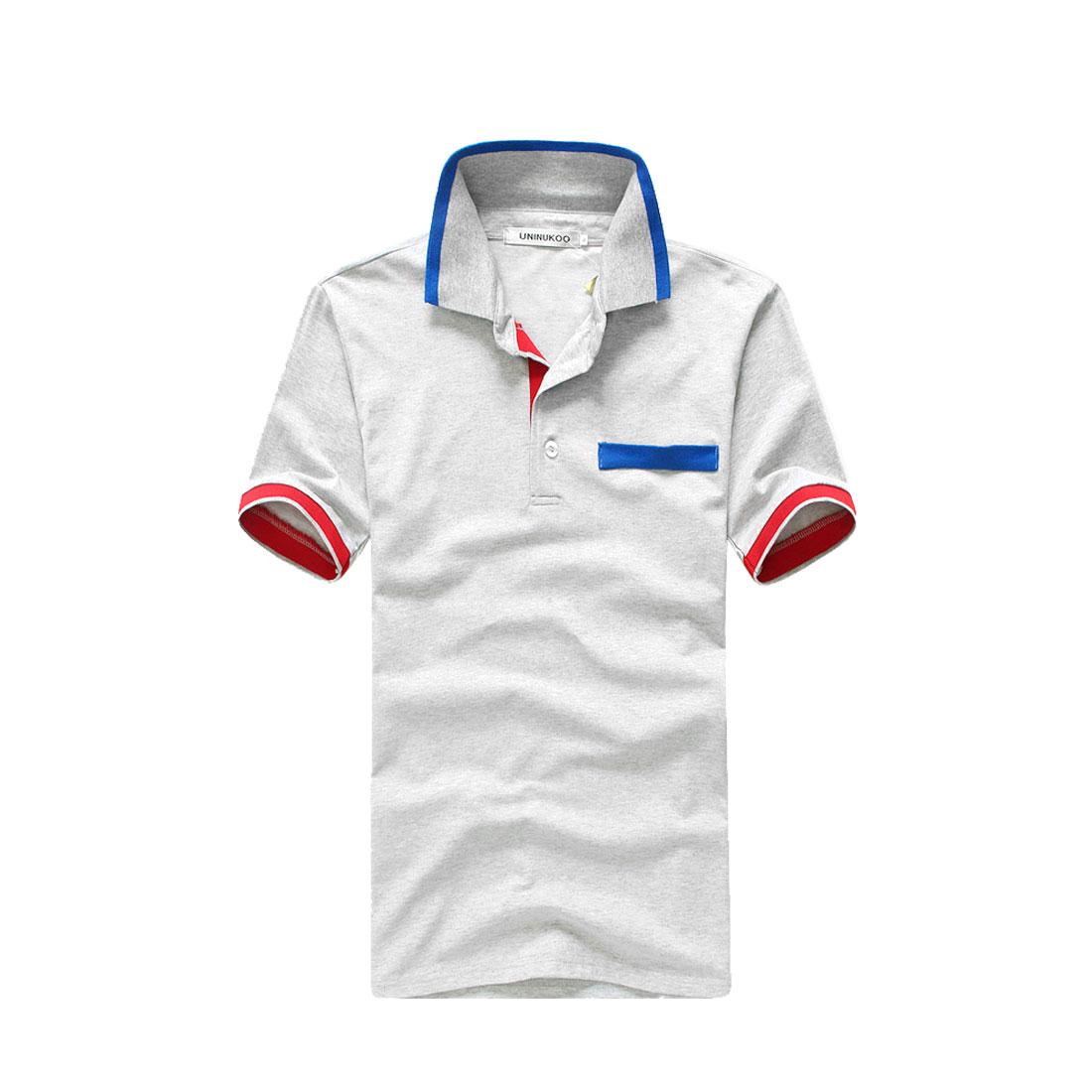 Men Pullover Short Sleeve Patchwork Cuffs Polo Shirt Light Gray M