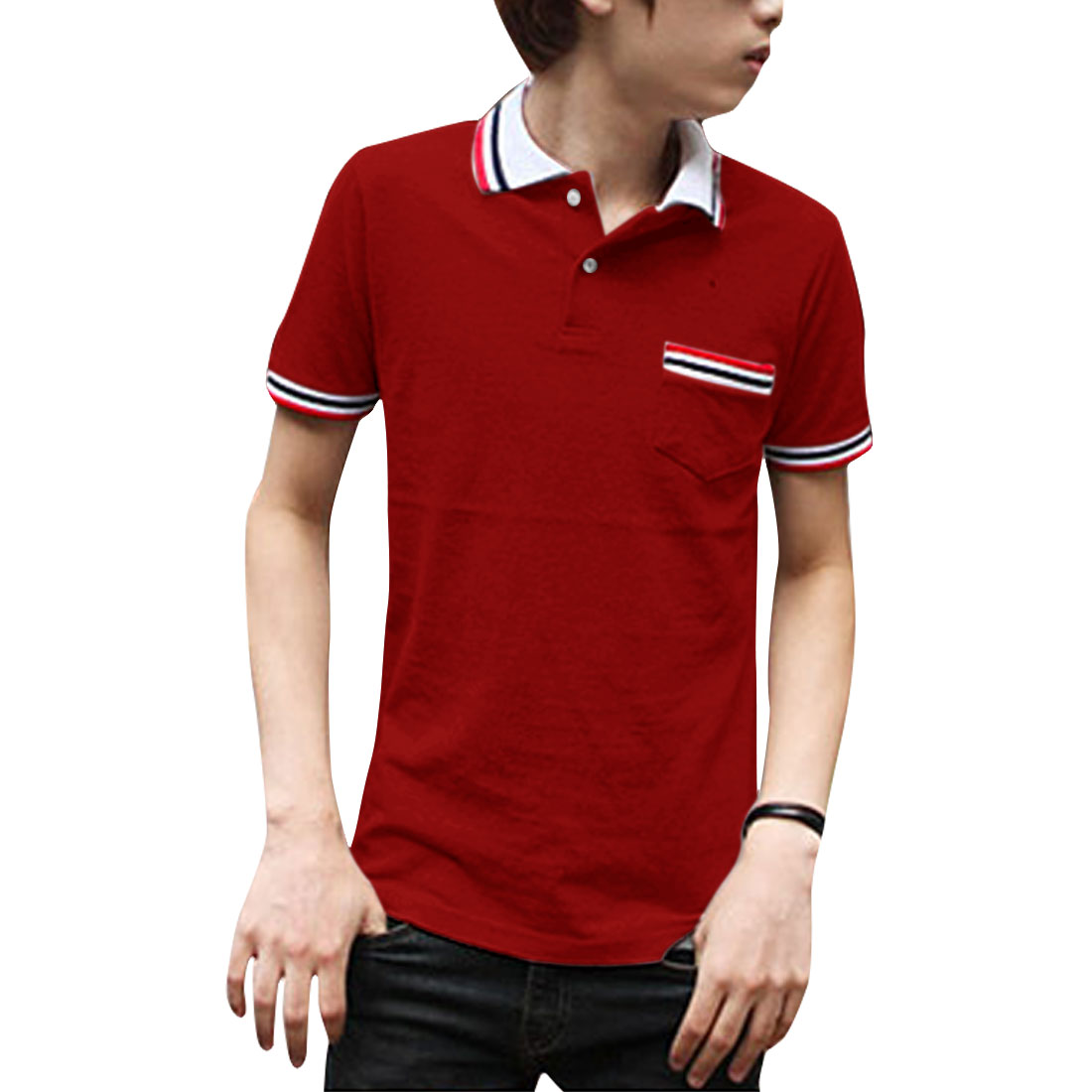 Men Convertible Collar Pullover Stripes Decor Polo Shirt Red M