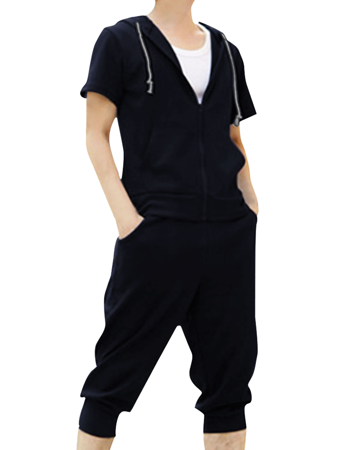 Men Short Sleeve Zip Down Hoodie w Stretchy Cropped Pants Dark Blue M