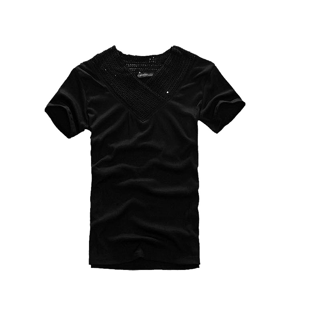 Men V Neck Pullover Short Sleeve Sequin Decor Casual T-shirt Black S
