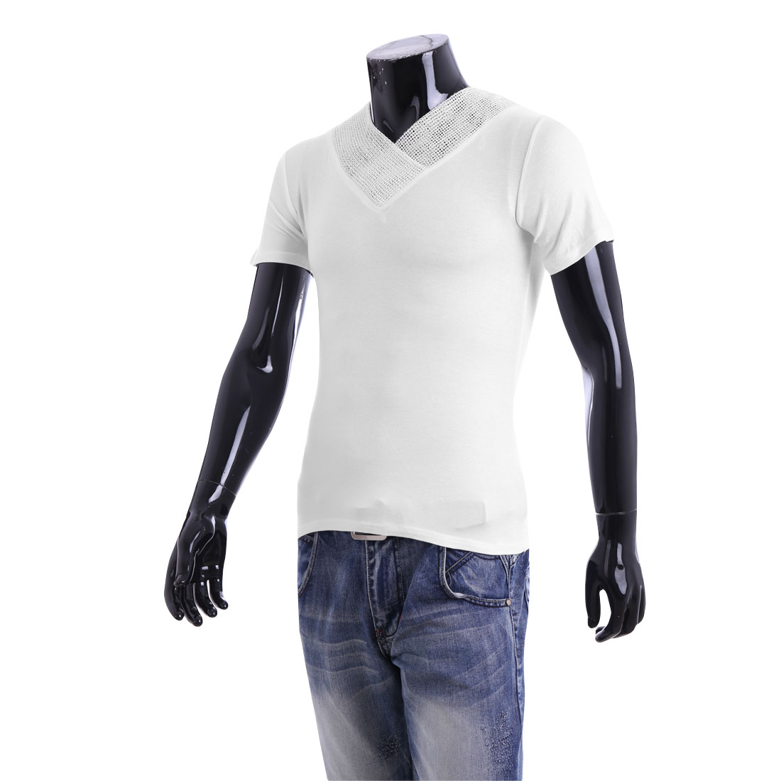 Men V Neck Pullover Short Sleeve Mesh Neck Casual T-shirt White S