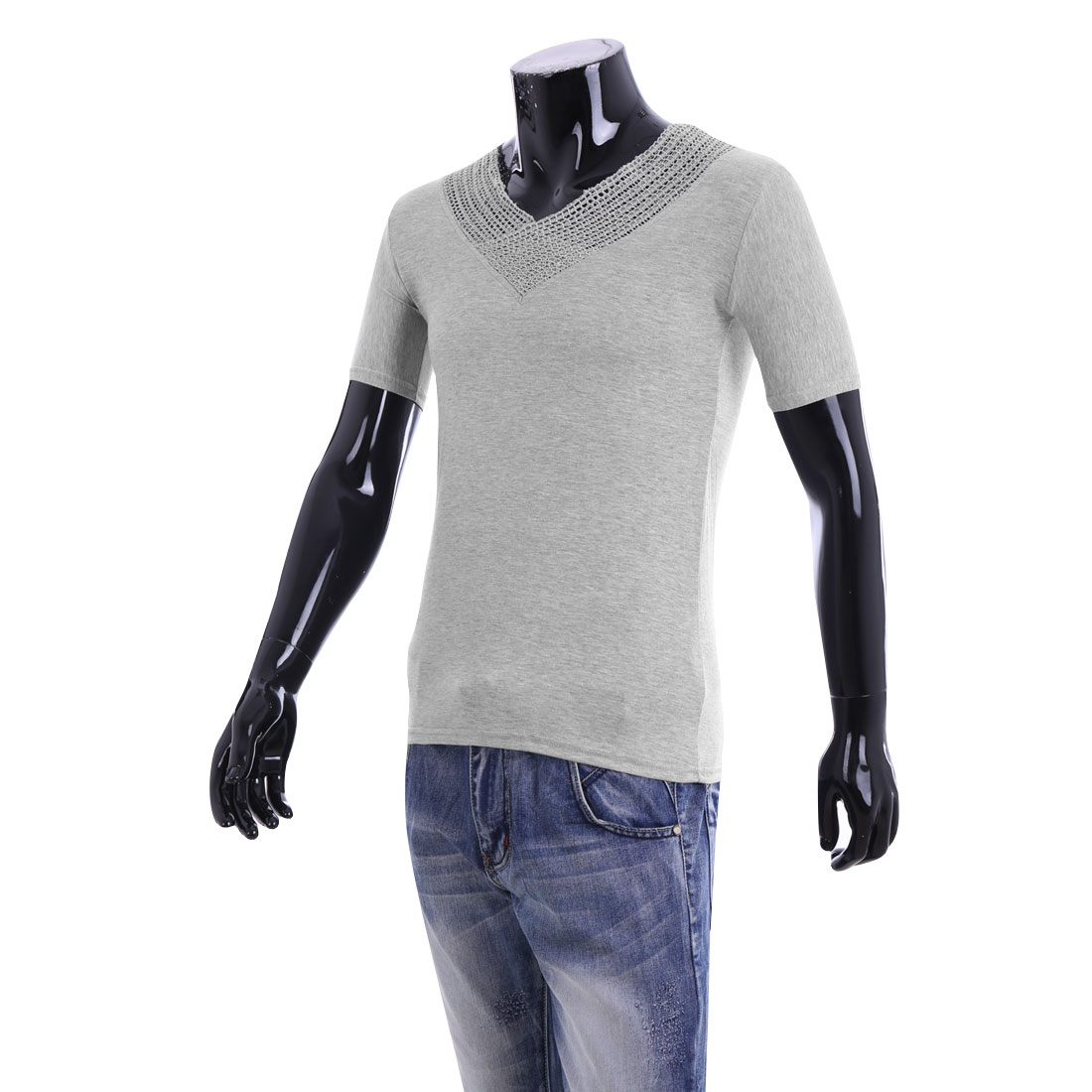 Men V Neck Short Sleeve Casual Stretchy T-shirt Light Gray S