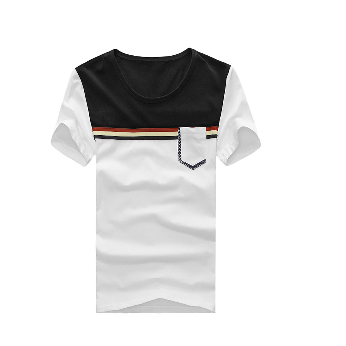 Men Round Neck Short Sleeve Color Block T-shirt Black White S