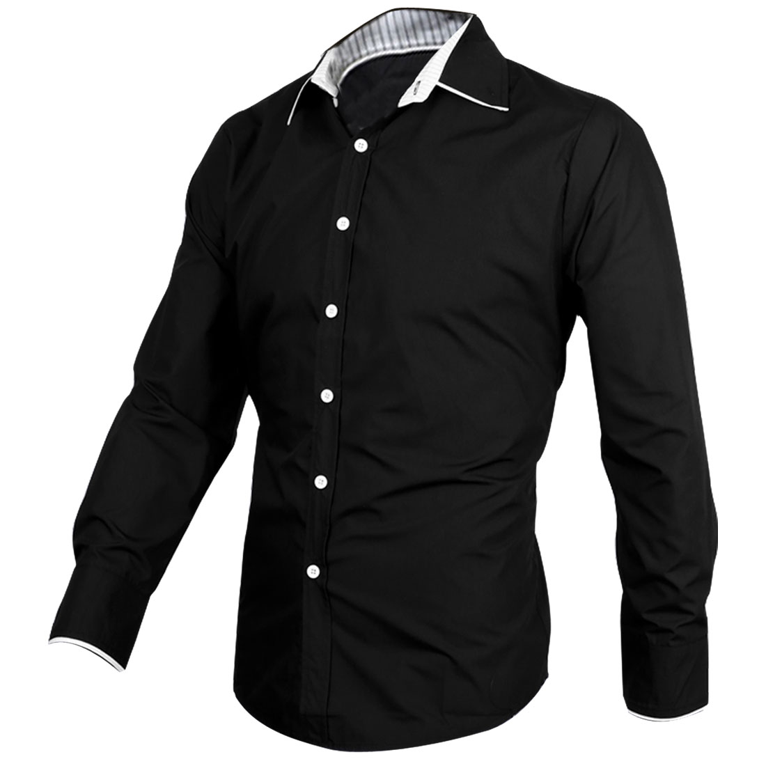 Mens Black Point Collar Button Cuff Casual Stylish Shirt M