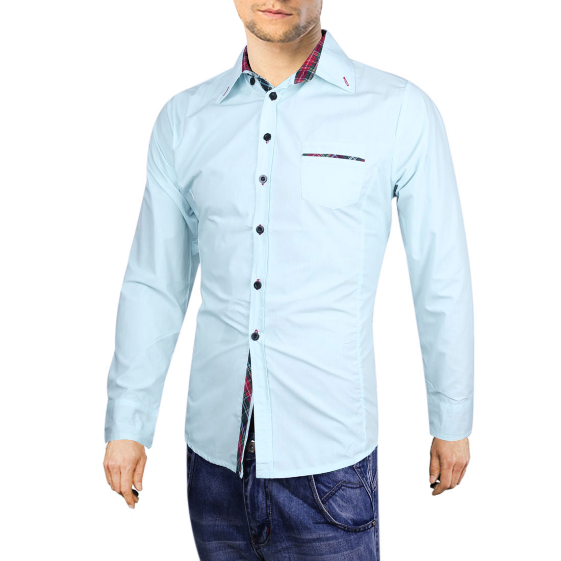 Men Point Collar Button Up Long Sleeve Round Hem Shirt Baby Blue L