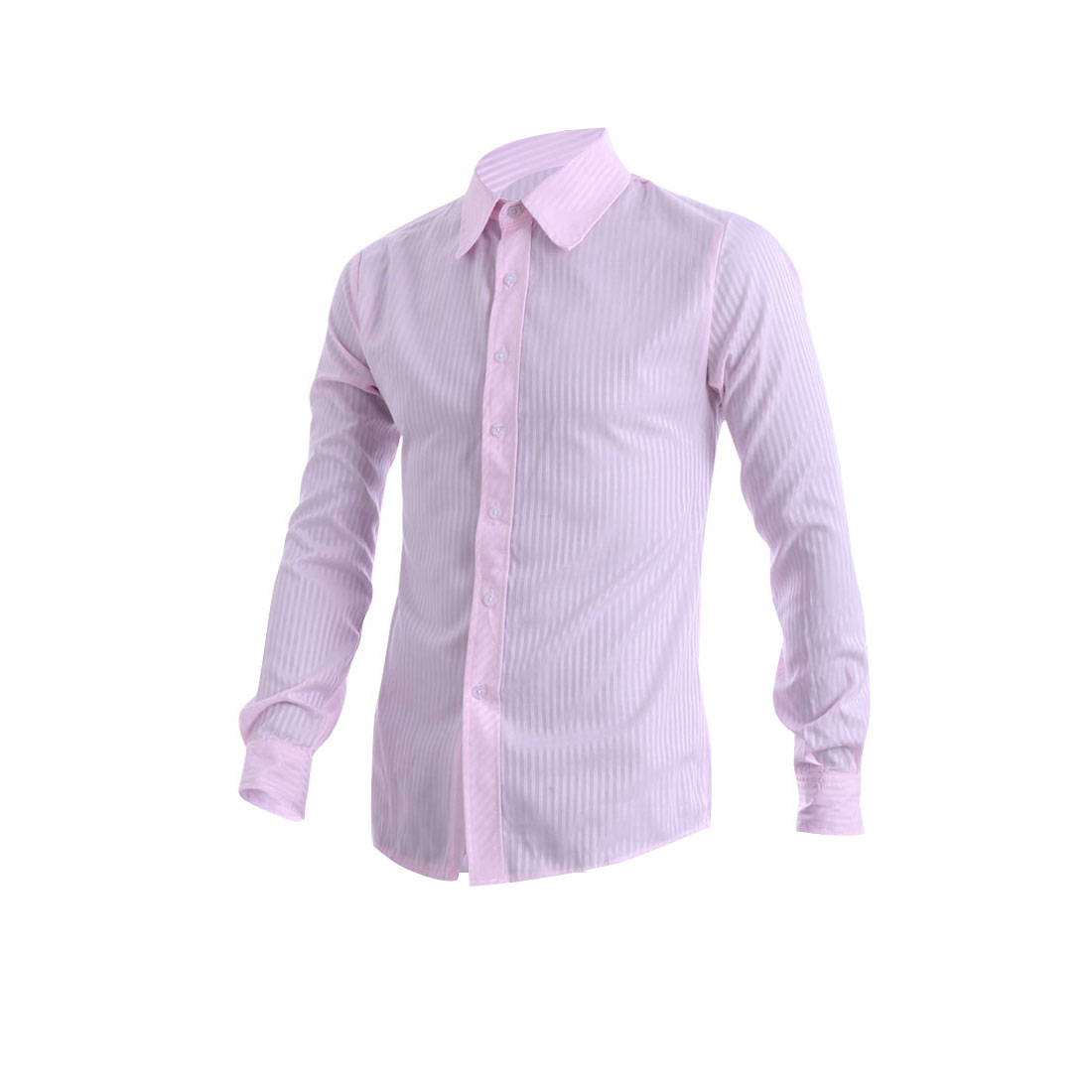 Mens Pink Buttoned Cuff Stripes Design Casual Chic Shirt M
