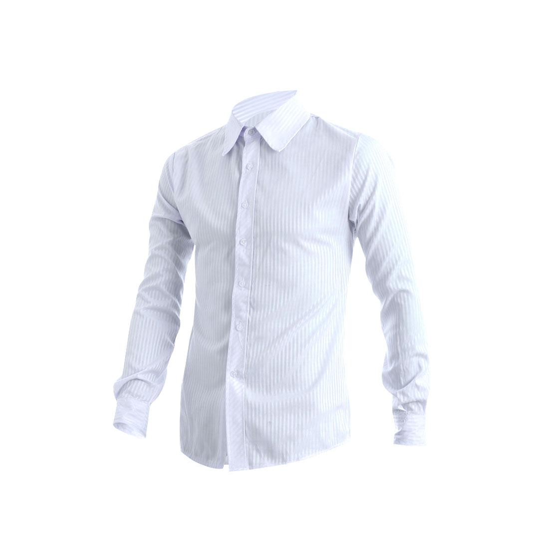 Mens Light Blue White Stripes Design Point Collar Button Down Shirt M