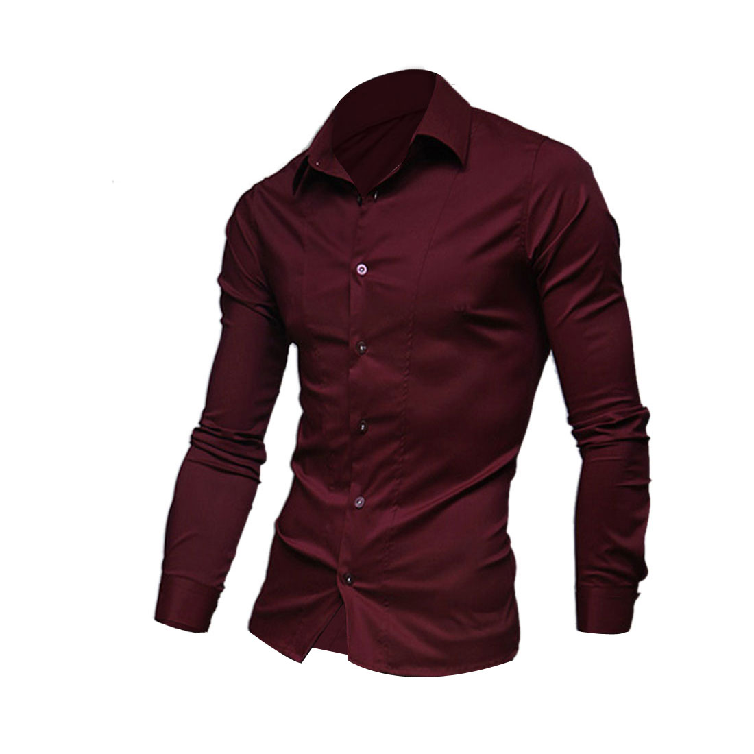 Men Single Breasted Long Sleeve Round Hem Casual Shirt Burgundy M