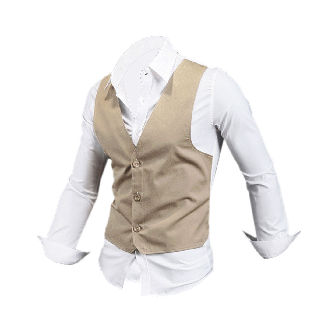 Men Single Breasted Long Sleeve Light Camel White Layered Top M