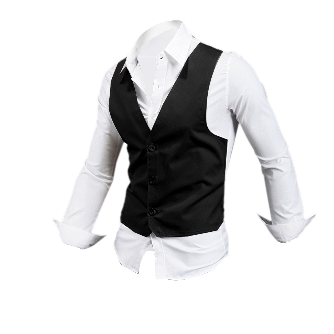 Men Long Sleeve Single Breasted Slim Black White Layered Top M
