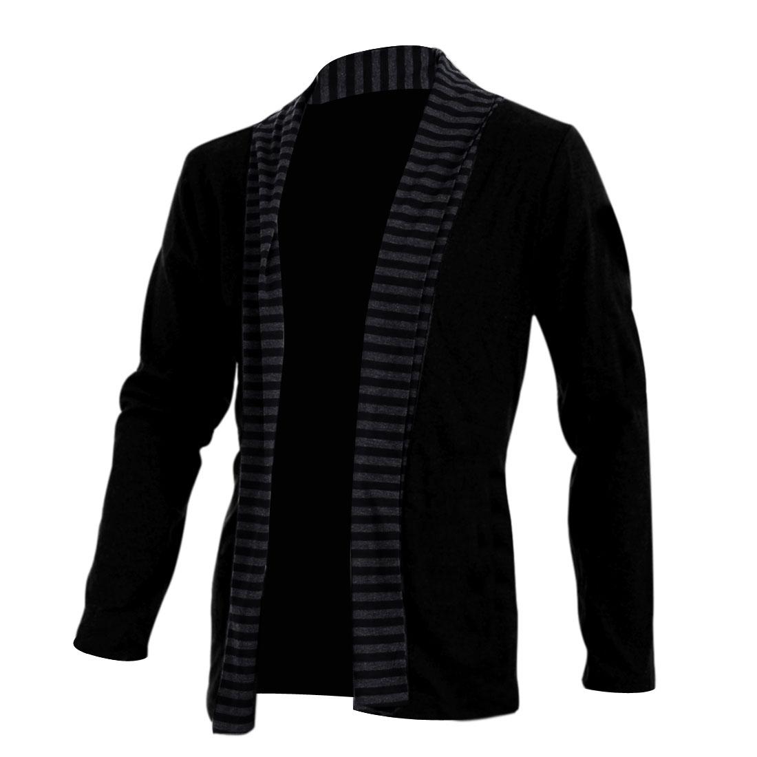 Mens Black Long Sleeves Panel Stylish Casual Light Coat M